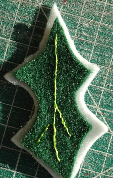 Embroider a little detail on the leaf....