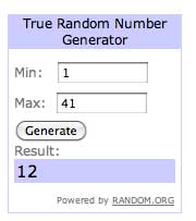 The Random Number generator says...