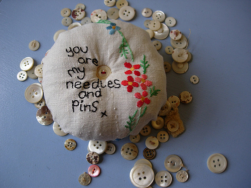 upcycled vintage embroidered pincushion
