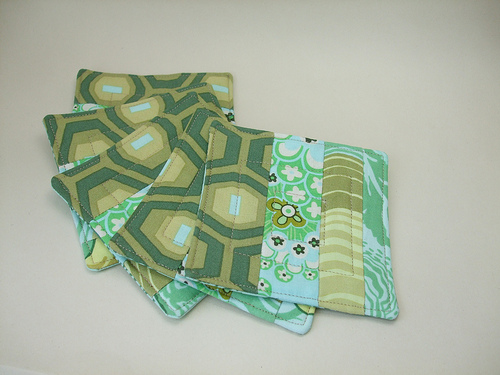Quilted coasters using Amy Butler fabrics